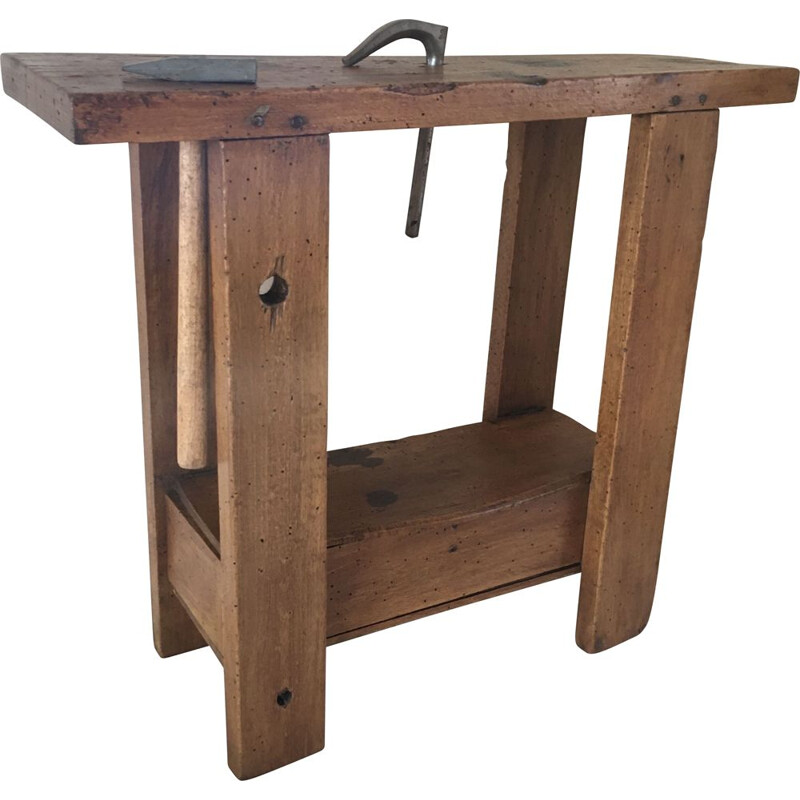 Vinatge children's beechwood workbench with pedestal, 1950