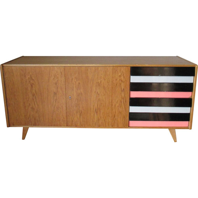 Vintage oak highboard, Jiri Jiroutek 1960