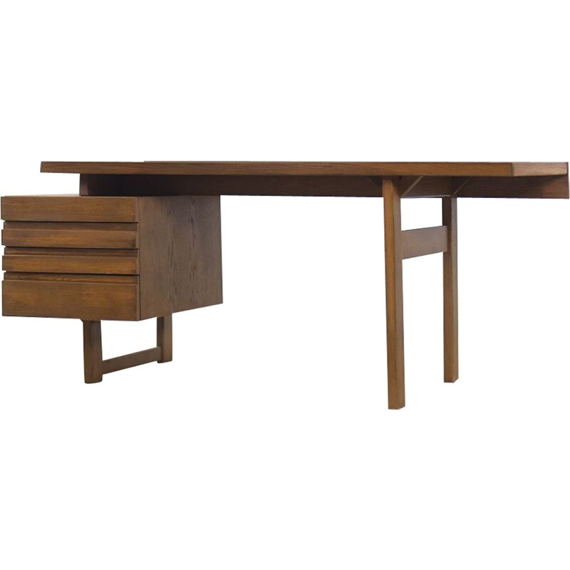 Vintage Brutalist Geometrical Oak Desk with Drawers Scandinavian 1950s
