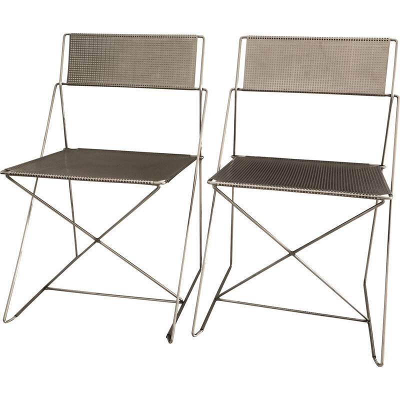 Pair of vintage chairs Nuova X Line by Niels Jorgen Haugesen , Italy 1970