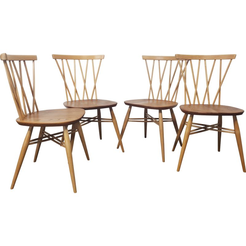 Set of 4 vintage Chairs Ercol Candlestick 1960s