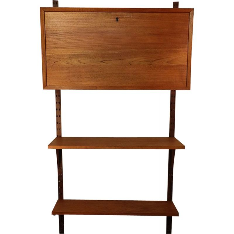 Vintage secretary with Scandinavian wall shelves by Poul Cadovius, 1960