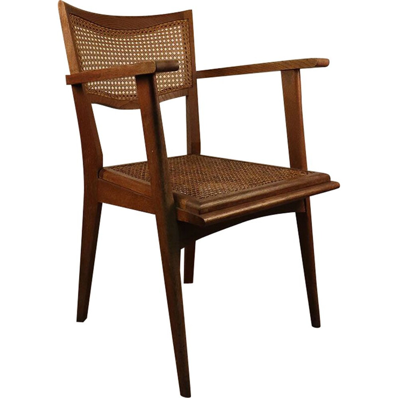 Vintage armchair in wood and wickerwork 1950