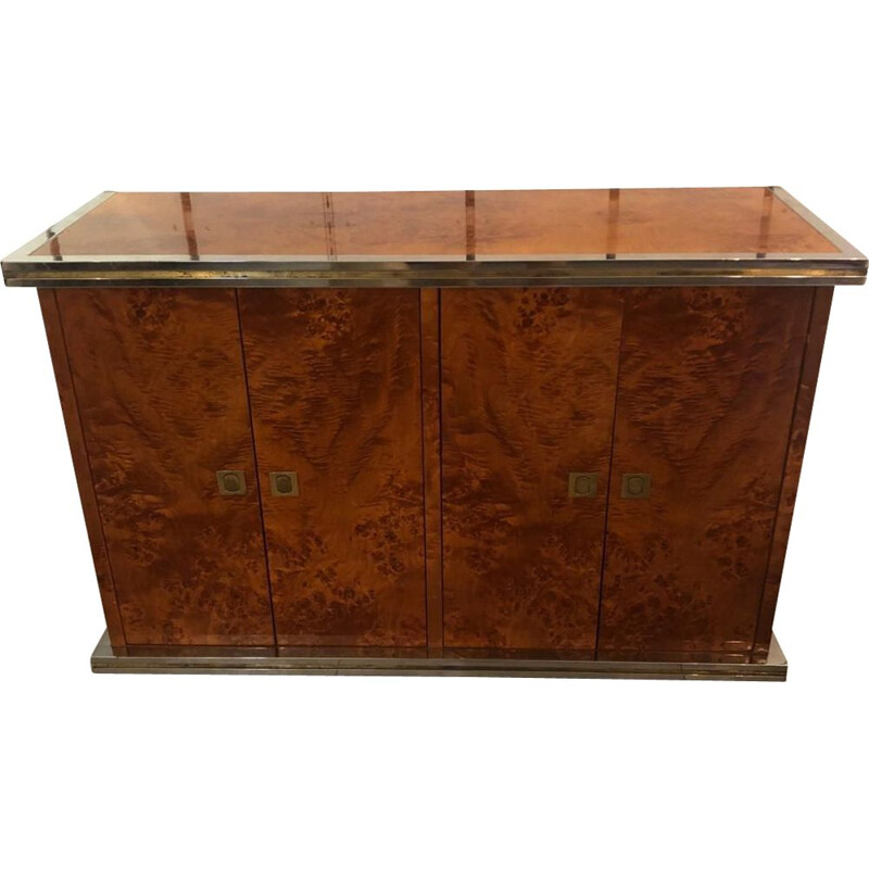 Vintage Elm Burl Sideboard Willy Rizzo 1970