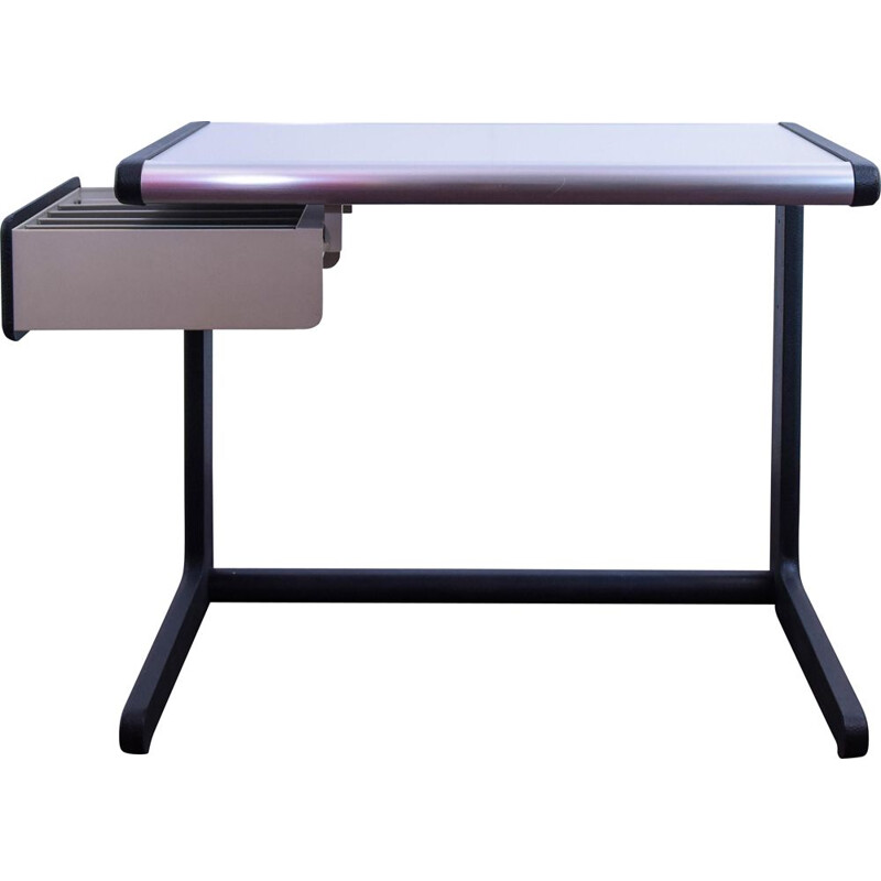 Vintage desk with extendable drawer Hillebrand in metal