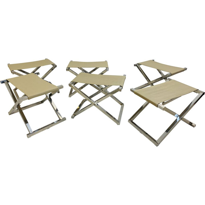 Set of 6 vintage Folding Stools, 1970s