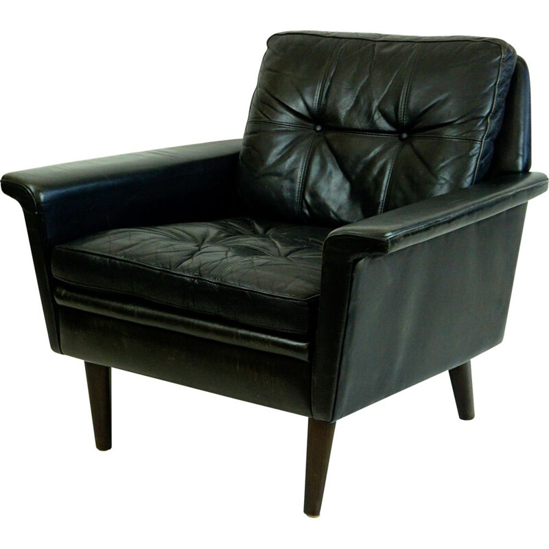 Vintage Black Leathrt and Rosewood Armchair Danish 1950s