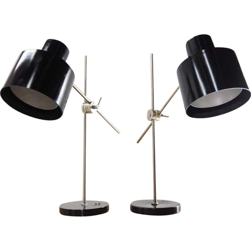 Pair of vintage adjustable Black Bakelite Industrial Table Lamps  Czechoslovakia, 1970s