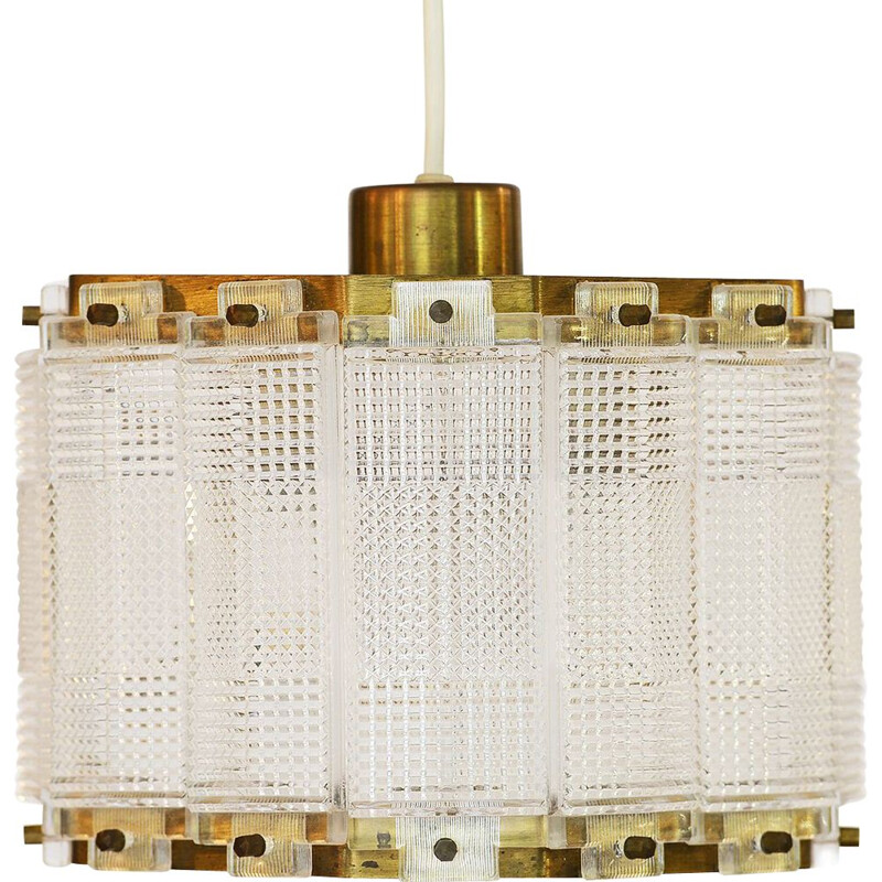 Vintage Brass and crystal pendant light by Carl Fagerlund for Orrefors. Sweden 1960s