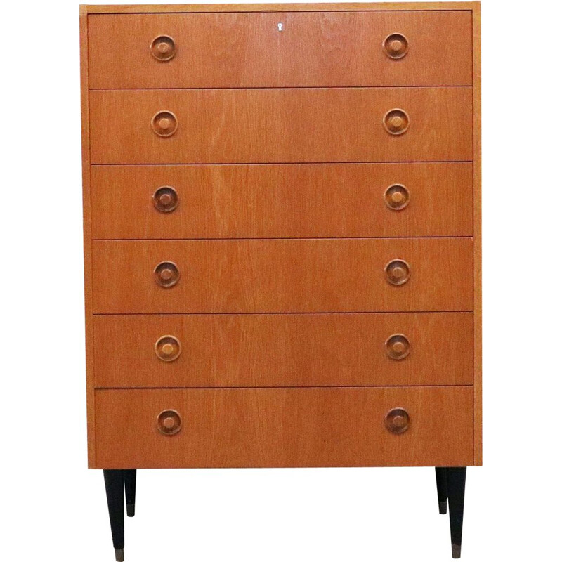 Vintage oak chest of drawers with beech legs danish