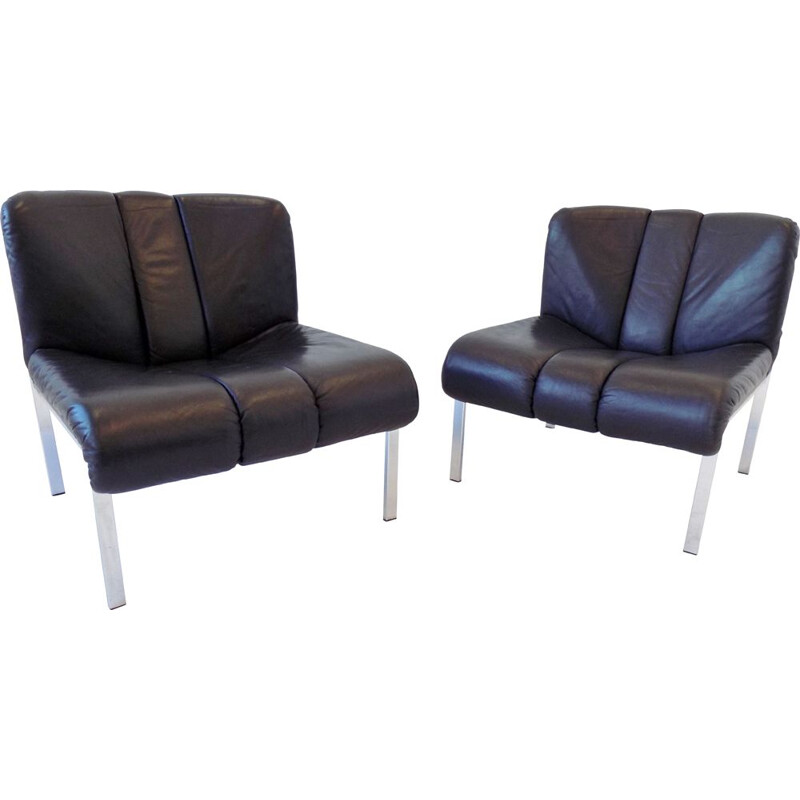 Pair of vintage black leather lounge chairs Girsberger Eurochair 1970