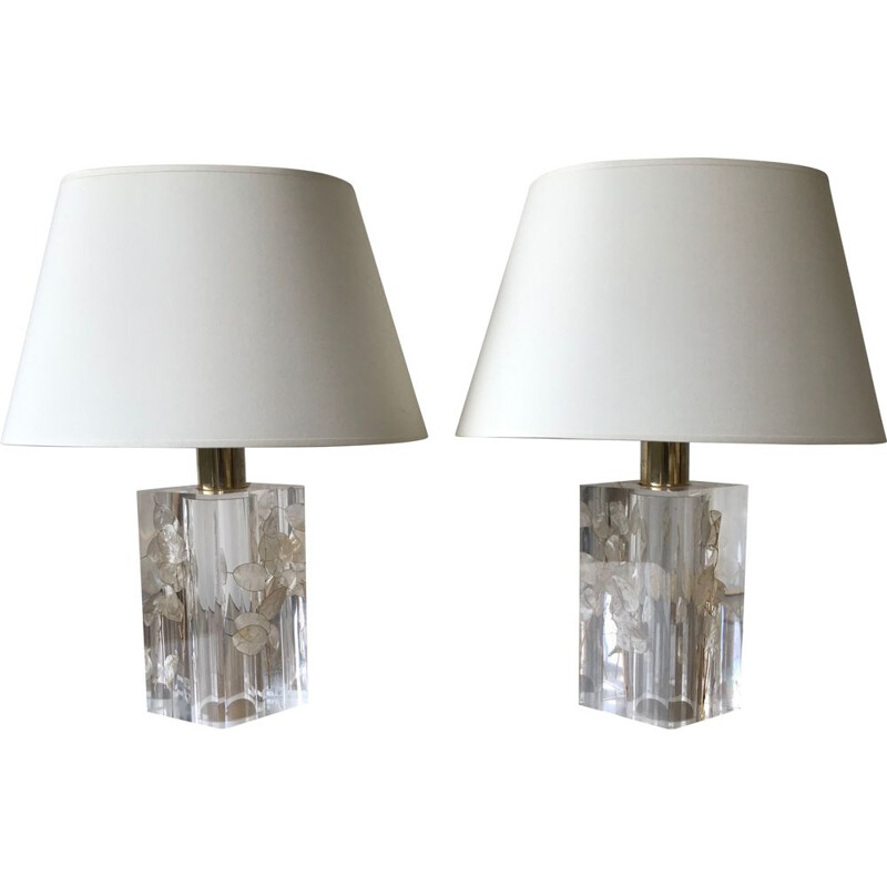 Pair of vintage lamps Monnaie du pape by Pierre Giraudon, 1970