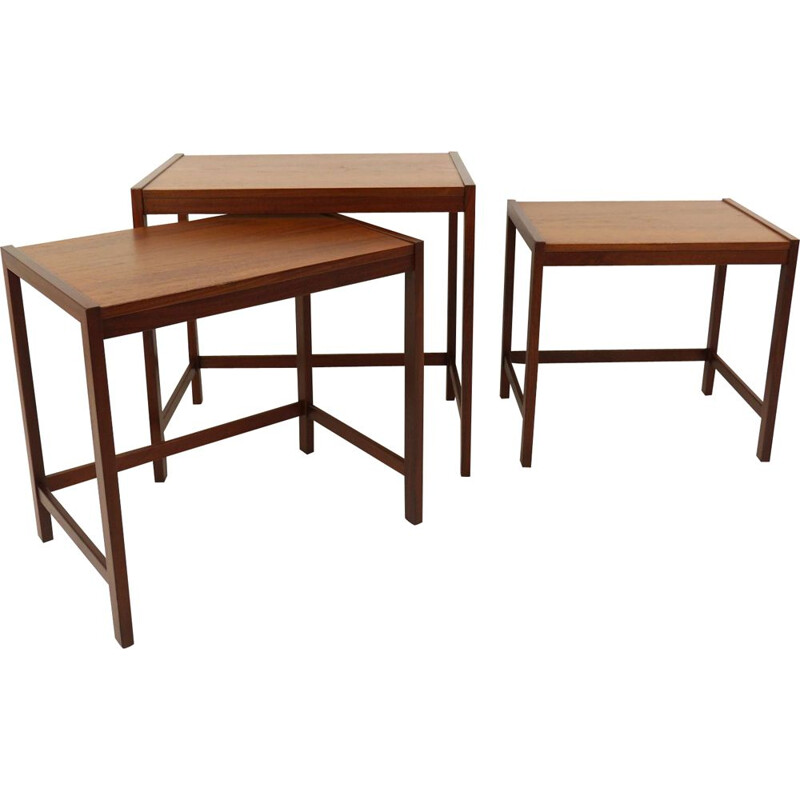 Set of 3 vintage Teak Nesting Tables, Denmark, 1960s