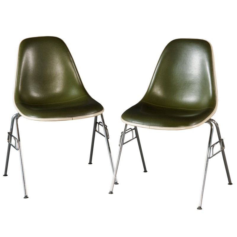 Herman Miller DSS Chair In Green Leatherette Charles Ray
