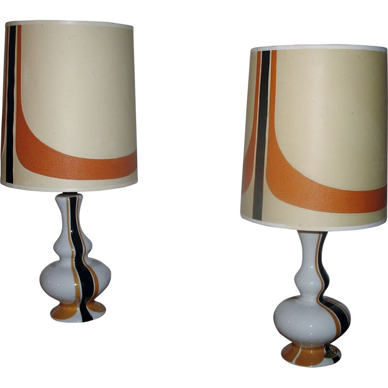 Pair of vintage porcelain lamps, France 1970