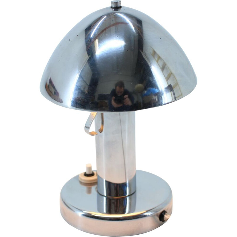 Pair of vintage adjustable chrome table lamps Bauhaus, Czechoslovakia 1930