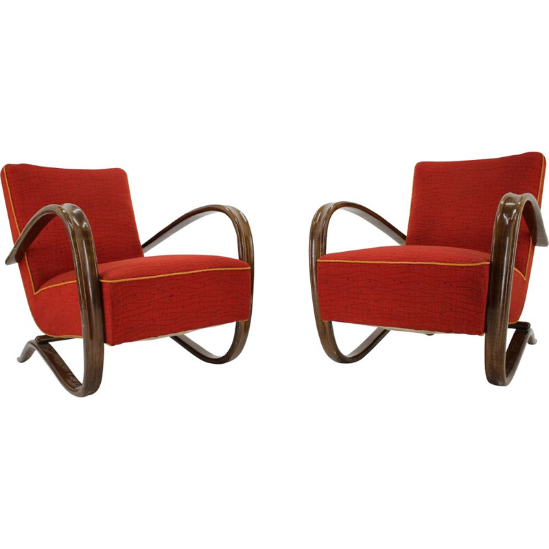 Pair of vintage Art Deco armchairs by Jindřich Halabala 1930