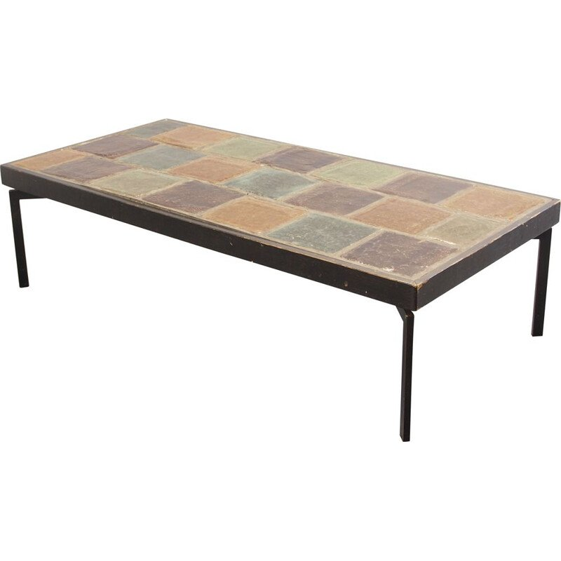 Rectangular vintage coffee table with a ceramic top