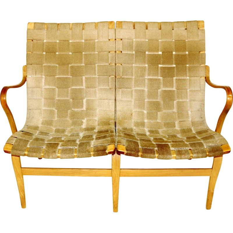 Vintage 2-seater bench by Bruno Mathsson