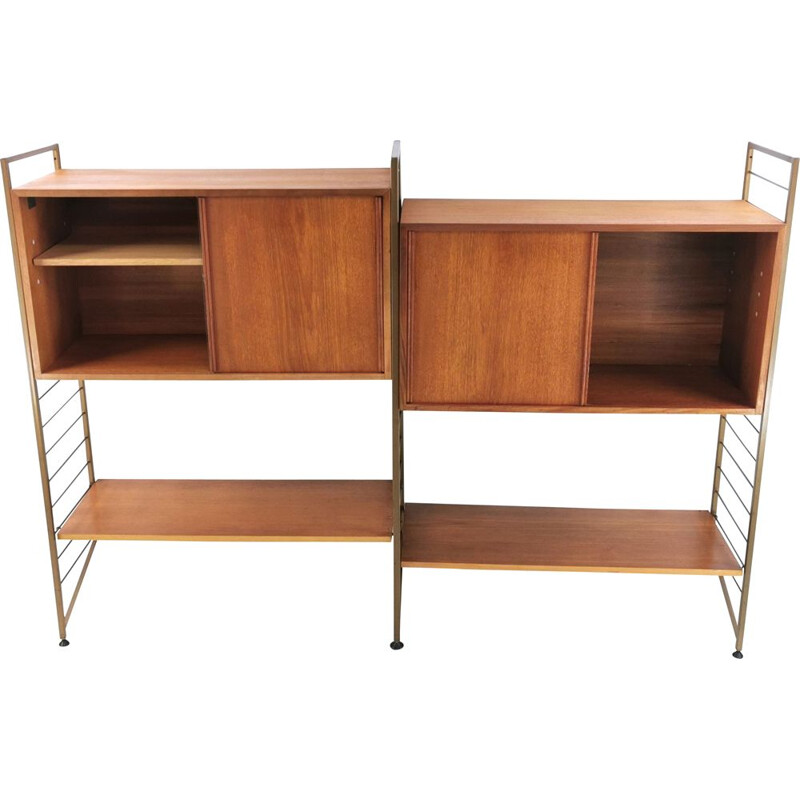 Vintage low teak Ladderax shelves, Robert Heal 1960