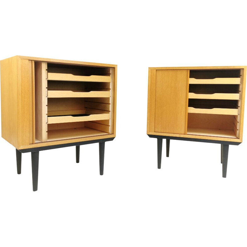 Pair of vintage Tambour Cabinets by Hundevad 1970s