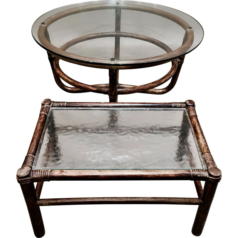 Set of glass and rattan coffee tables 1960s