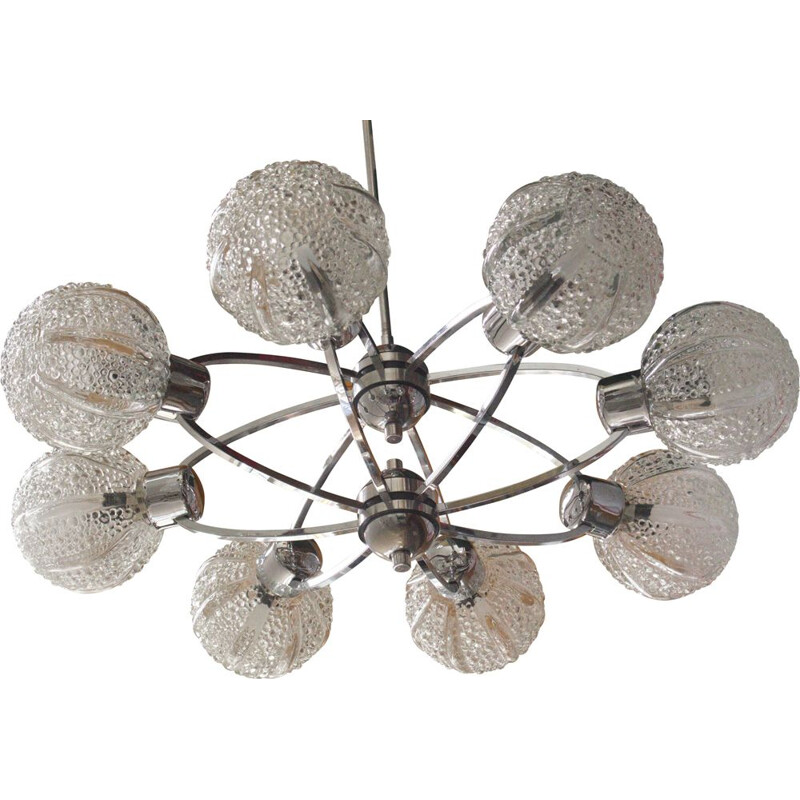 Vintage chandelier 8 glass spheres 1960s