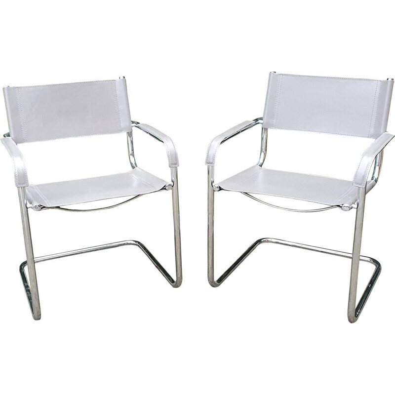 Pair of vintage leather and chrome cantilever chairs by Mart Stam