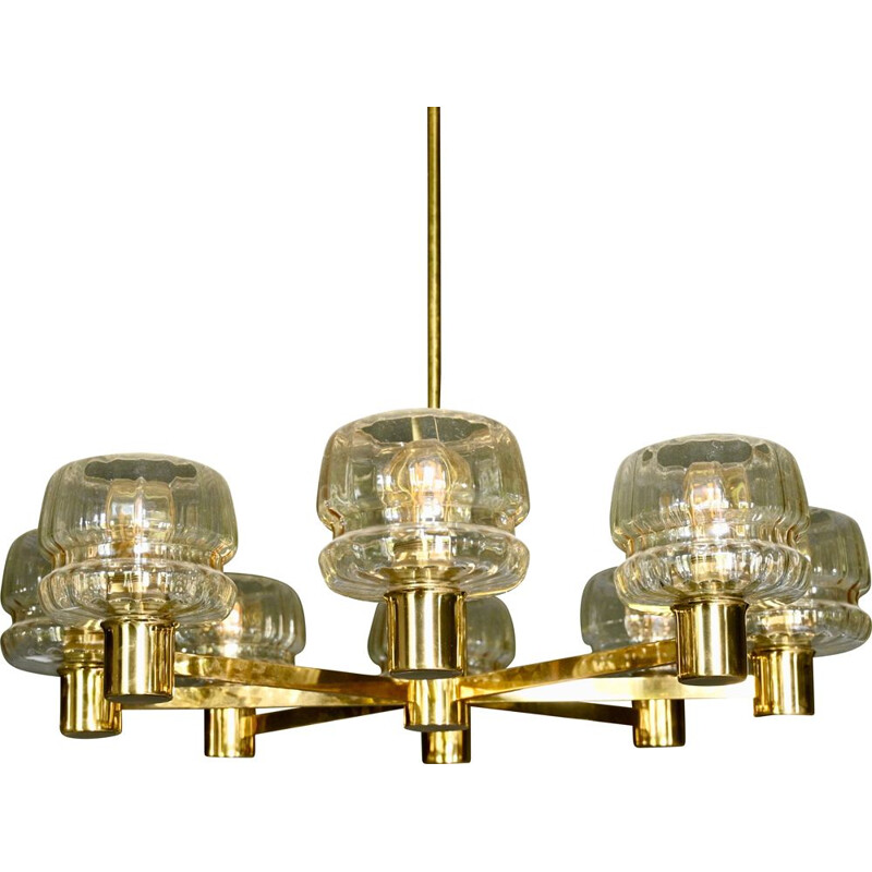 Vintage Scandinavian Brass and Glass Chandelier by Hans-Agne Jakobsson 1960s