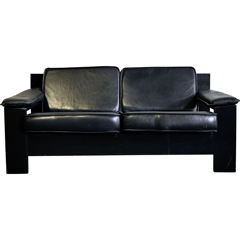 2-Seater Sofa Brutalist in Black Leather by Harry de Groot for Leolux, 1970s