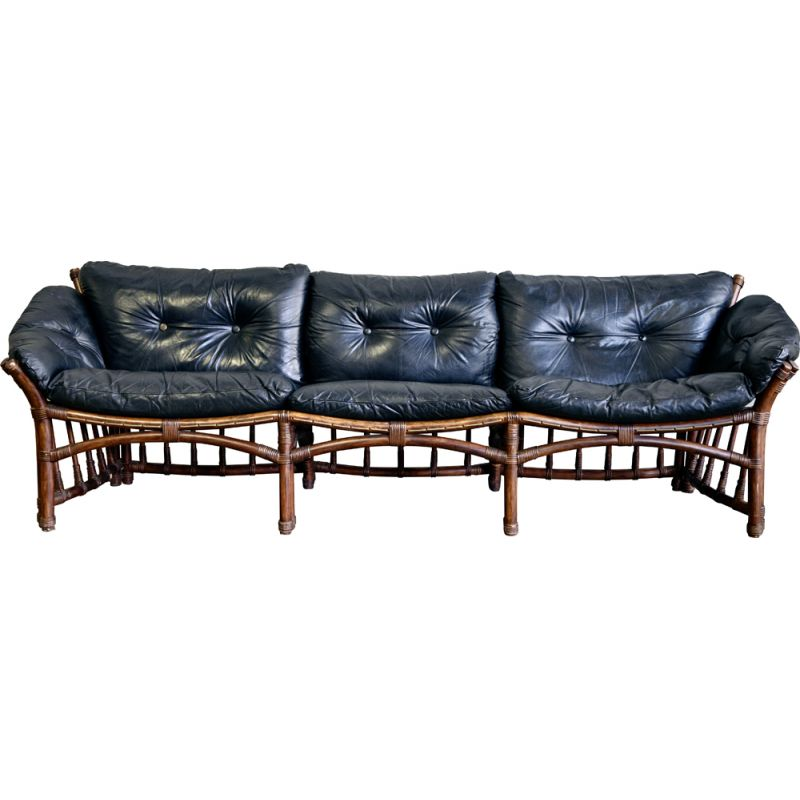 Vintage Leather and Rattan Sofa 1970s