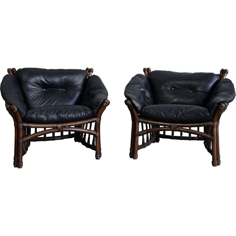 Pair of vintage Leather and Rattan Chairs 1970s