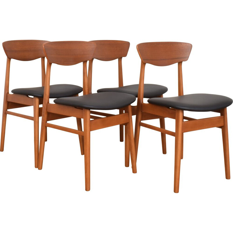 Set of 4 Mid-Century Danish Teak & Leather Dining Chairs 1960s