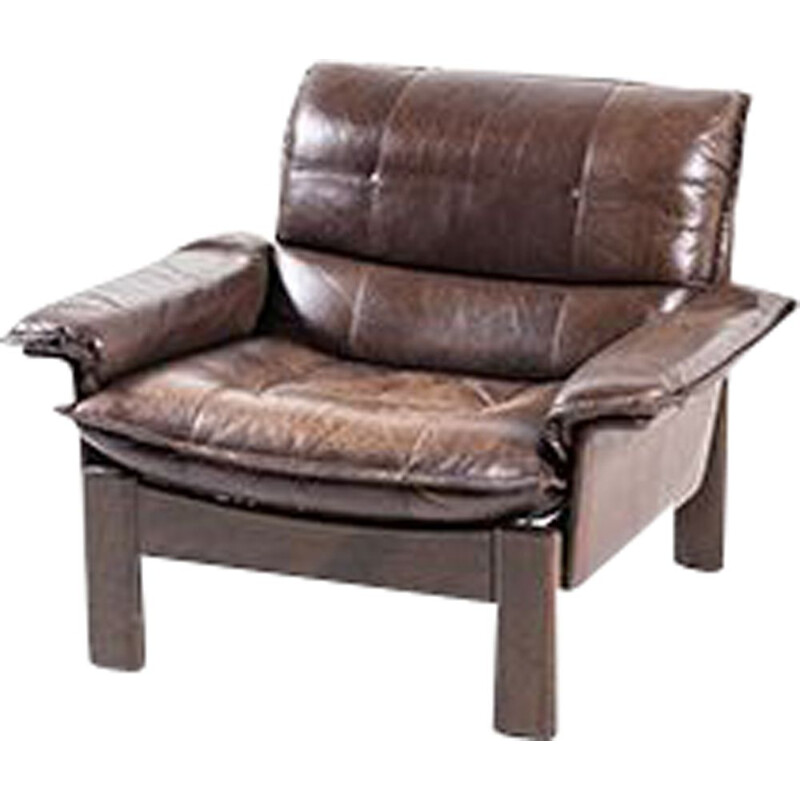 Vintage Leather and Teak Lounge Chair 1960s