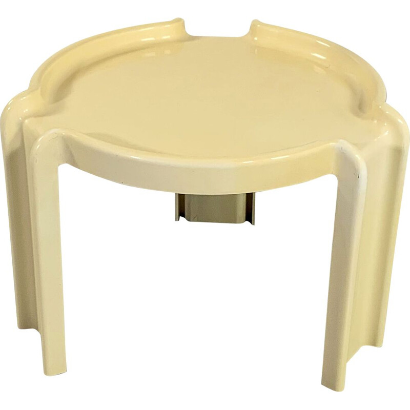 Vintage Cream Side Table by Giotto Stoppino for Kartell 1970s
