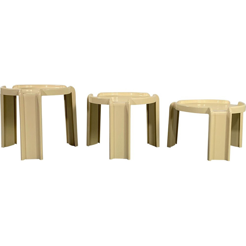 Vintage Cream Nesting Tables by Giotto Stoppino for Kartell 1970s