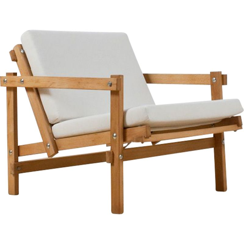 Vintage Martin visser Cleon lounge chair in beech and linen 1970s