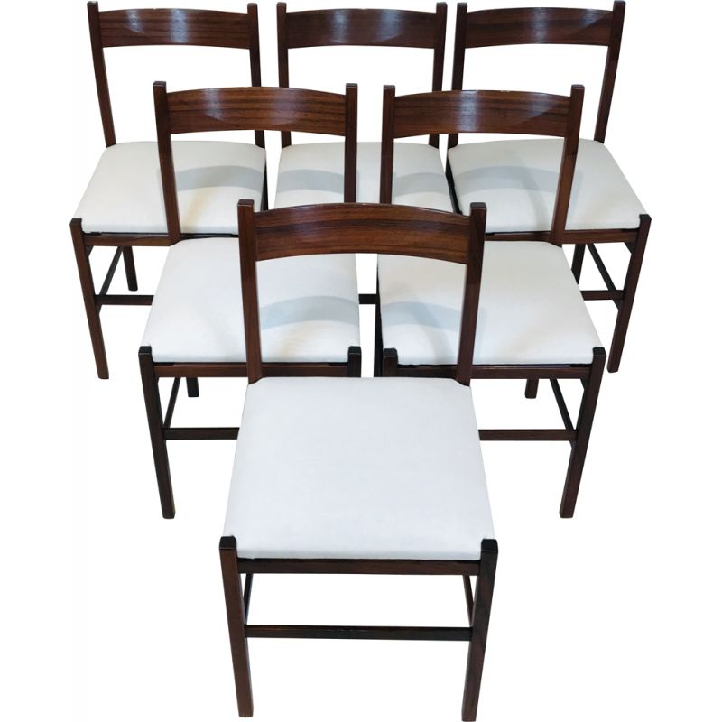 Set of 6 vintage Italian wooden chairs Italy 1960s