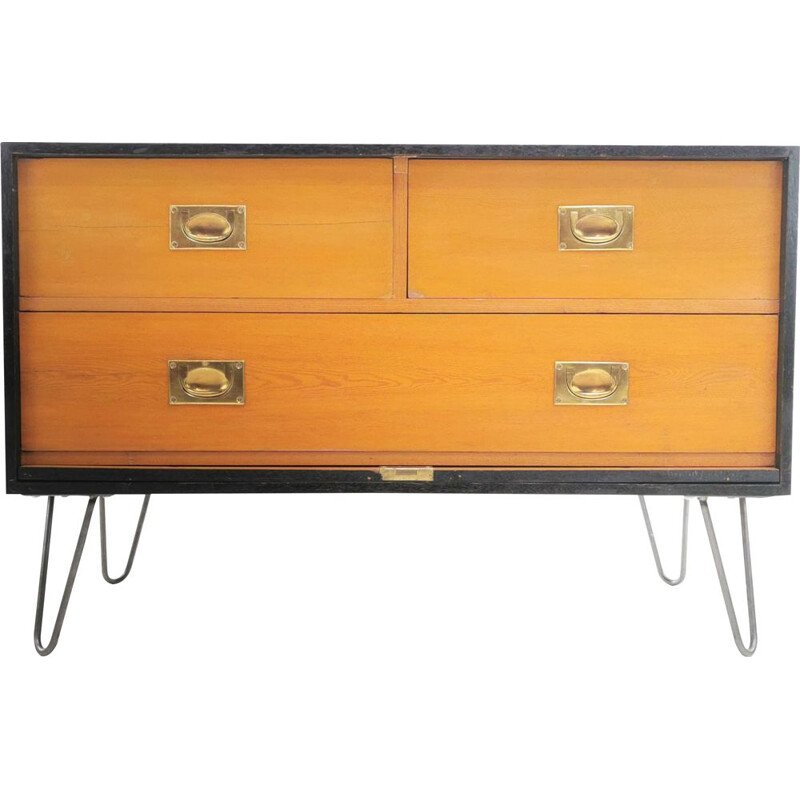 Vintage Military Travel Trunk Chest of Drawers 1950s