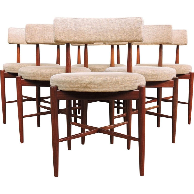 Set of 6 Mid-Century Teak and Cream Fabric Dining Chairs by G-Plan 1960s