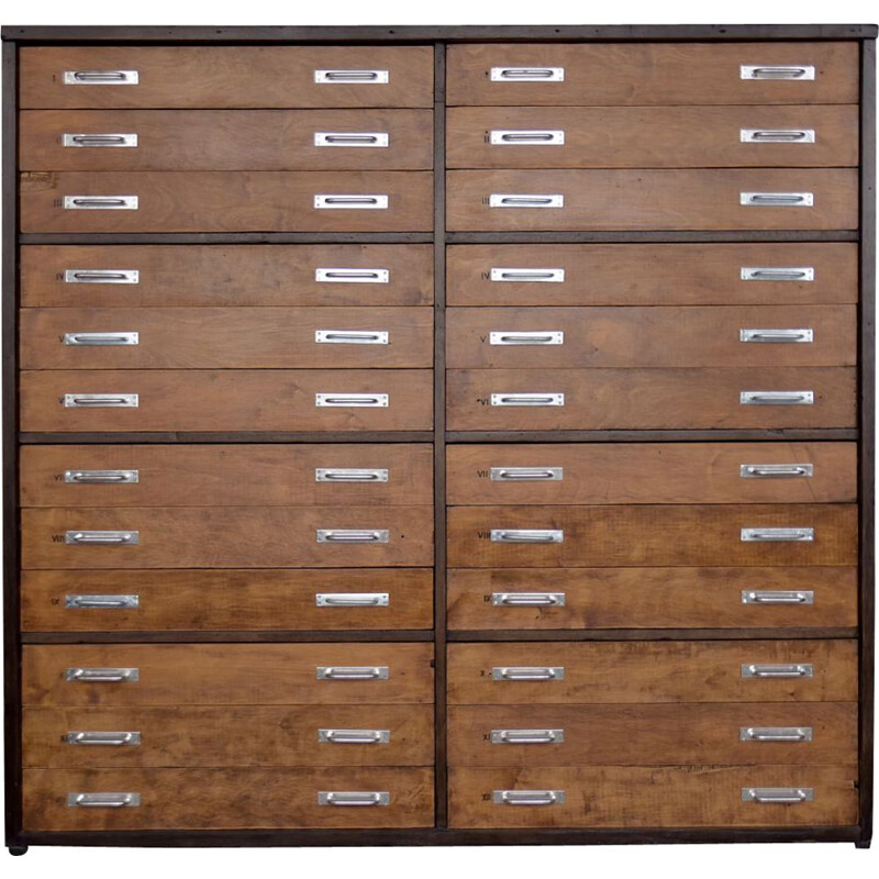 Vintage Huge Industrial Oak Multi-Drawer Flat File Architect or Apothecary Cabinet 1930s