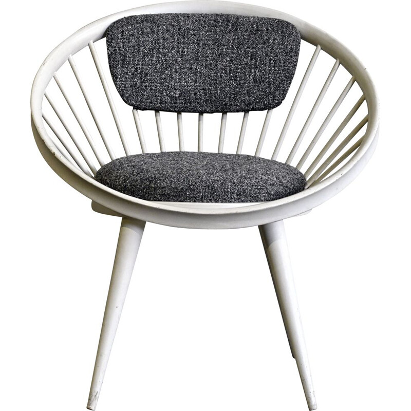 Vintage Grey & White Circle chair by Yngve Ekstrom for the Swedish 1960s