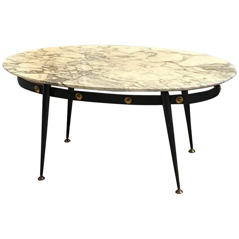 Mid-Century Modern Brass and Marble Italian Coffee Table, circa 1950