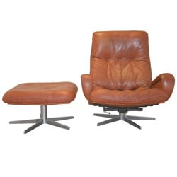 "De Sede ""S 231"" armchair and his ottoman in leather - 1960s"
