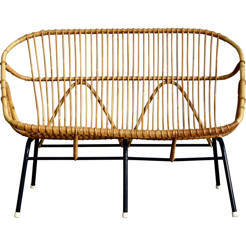 Vintage Wicker Sofa from Rohé Noordwolde 1950s