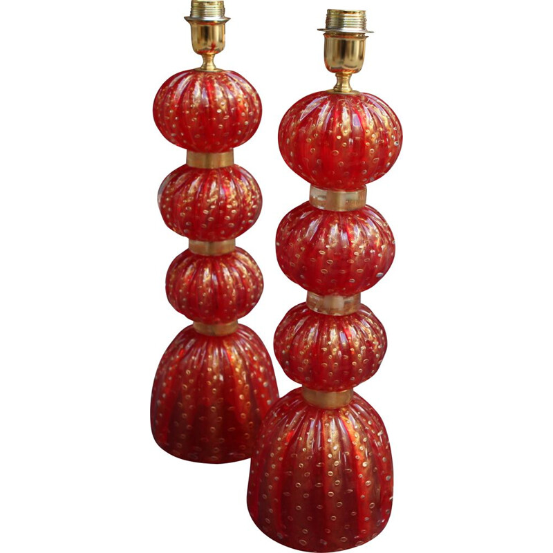 Pair of vintage red lamps 3 balls