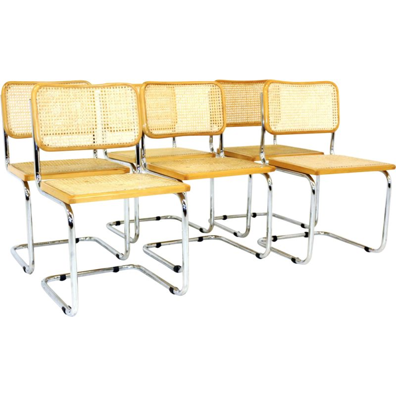 Set of 6 Cesca vintage Marcel Breuer chairs in chromed steel and solid beech wood 1970s