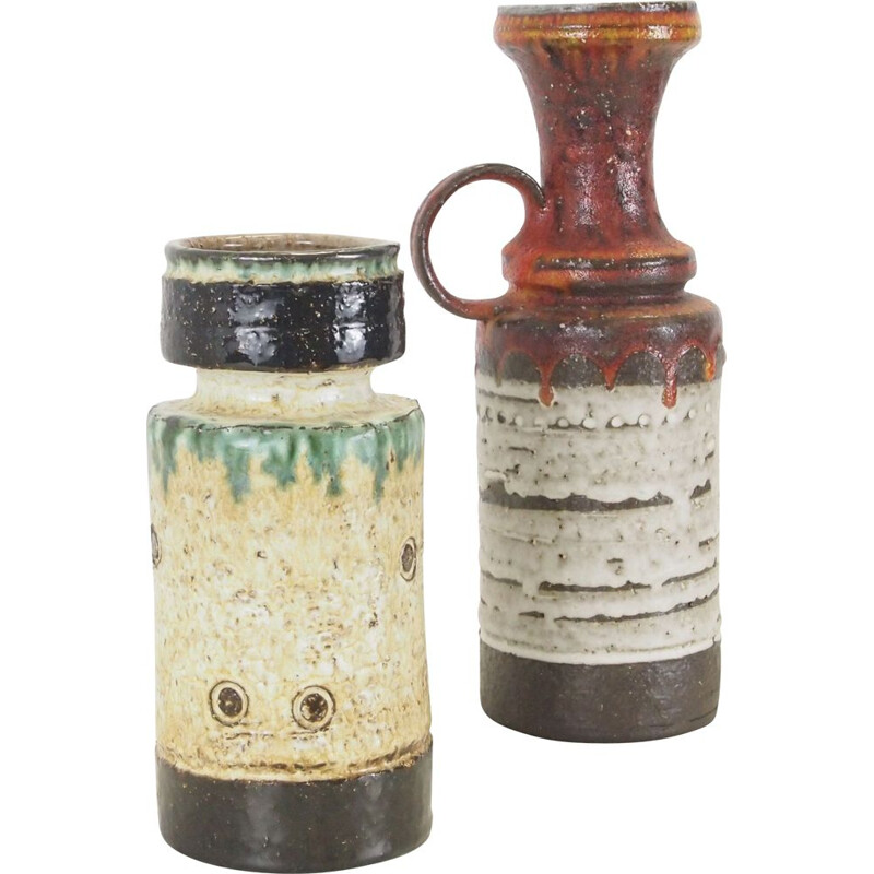 Set of 2 brutalist art fat lava ceramic vases