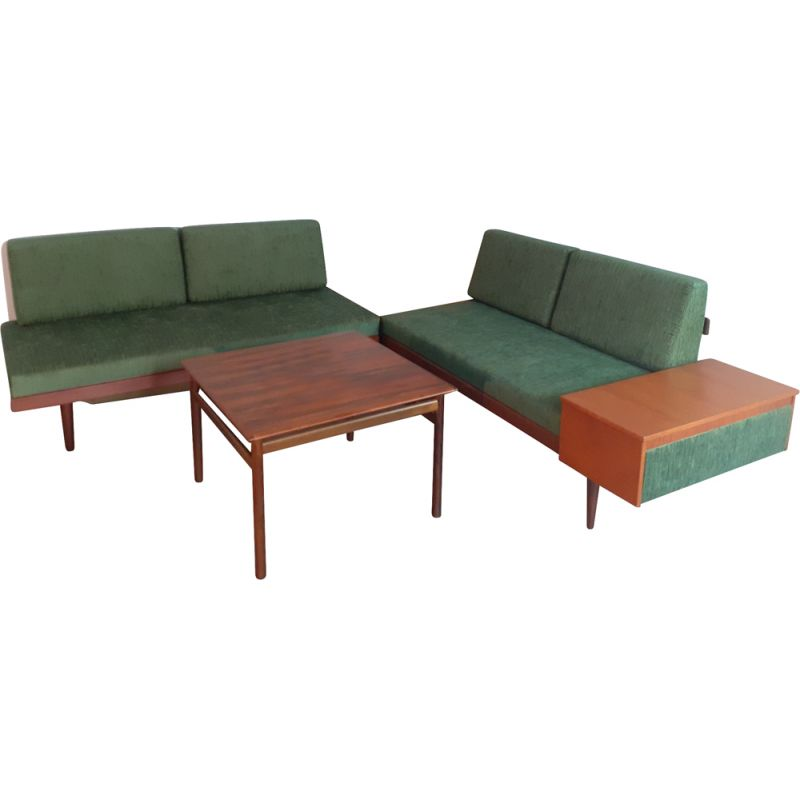 """Pair of vintage Scandinavian sofas """"Svanette Combina"""" and tables by Ekornes 1960"""
