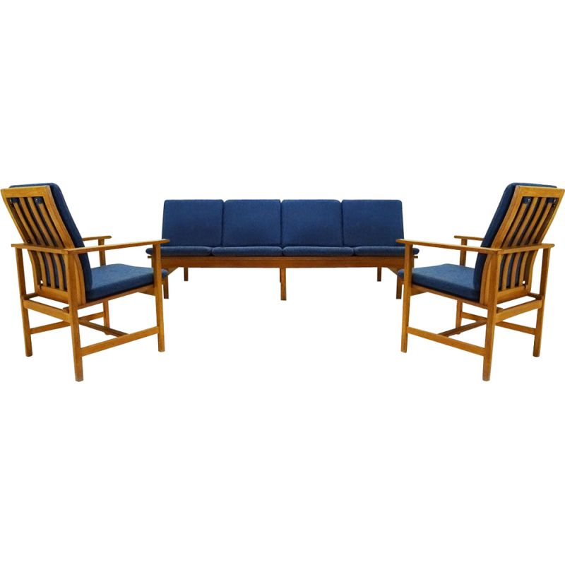 Danish Mid century Børge Mogensen 4 seater Oak bench sofa and two armchairs